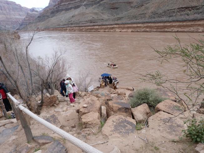 Trekking down the rocks