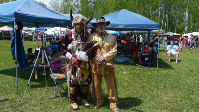 "Our friend ""Bear"" on the right,with Standing Buffalo Warrior (a.k.a.Cliff Standingready)"
