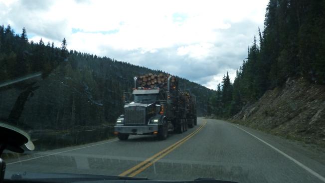 Logging truck on Hwy 3