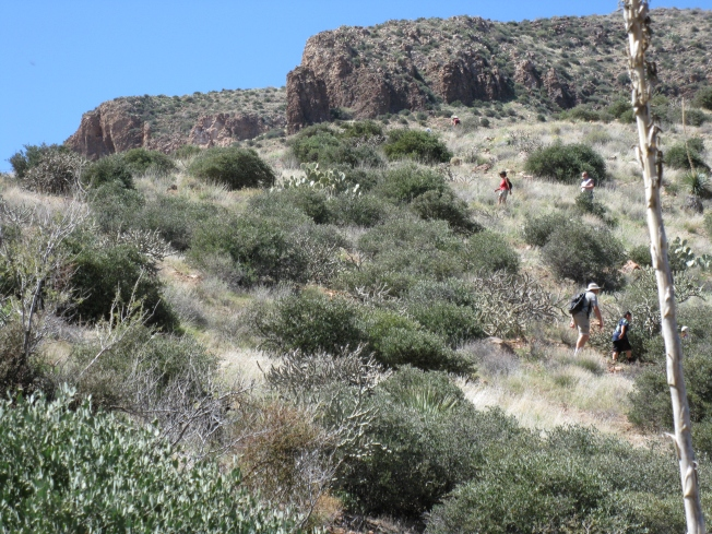 Hikers at Tonto Monument