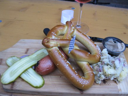 Yummy Sausage, pretzel and German Potato Salad