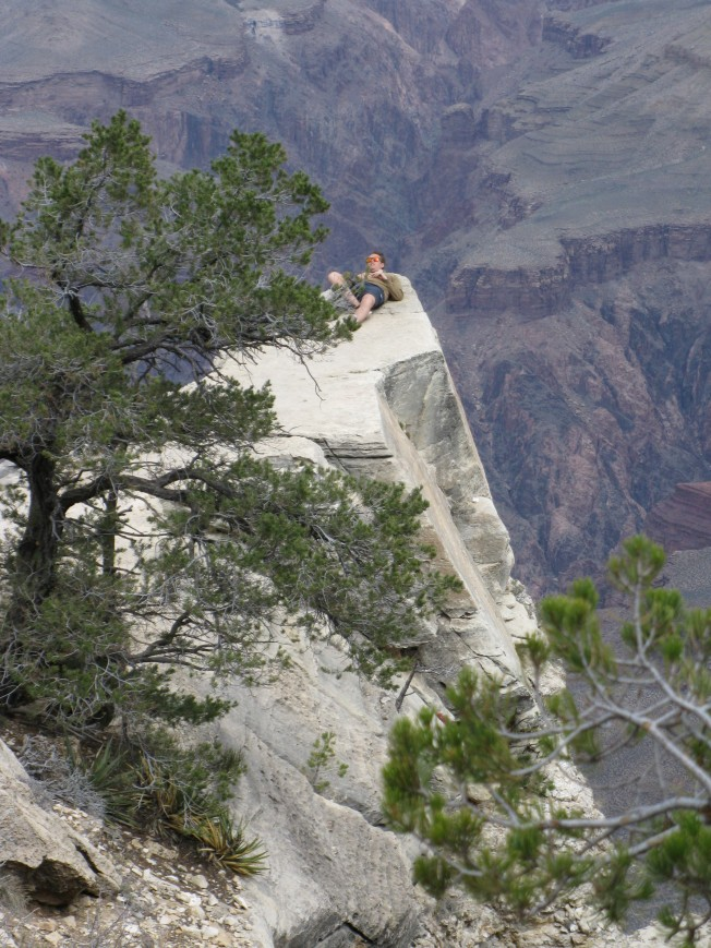 Guy laying on the edge