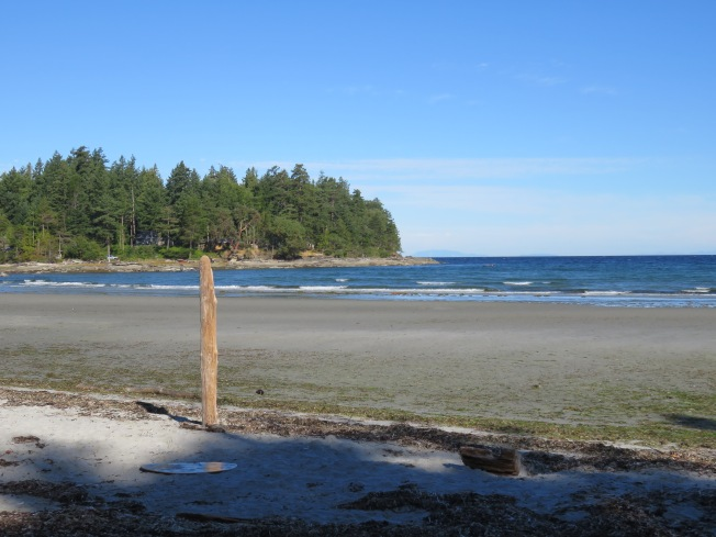 One of the many sandy beaches, at low tide
