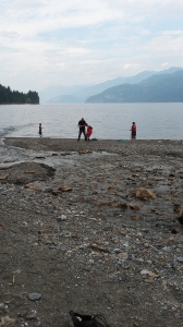 Fishing on the beach at Fletcher Falls